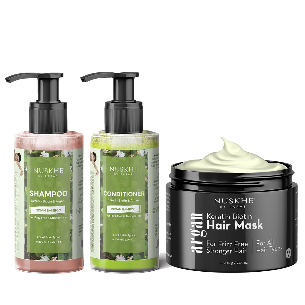 Shampoo, Hair Mask & Conditioner Combo with Keratin Biotin & Argan For Frizz Free & Stronger Hair For Men & Women - Skin Organ