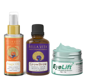 Under Eye Gel for Dark Circles, Magic Face Oil & GrowBrow Eye Brows/Lashes Hair Growth Serum Combo