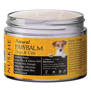 Paw Balm for Dogs & Cats, Soothing Butter for Paws, Elbows & Knees, 60gm