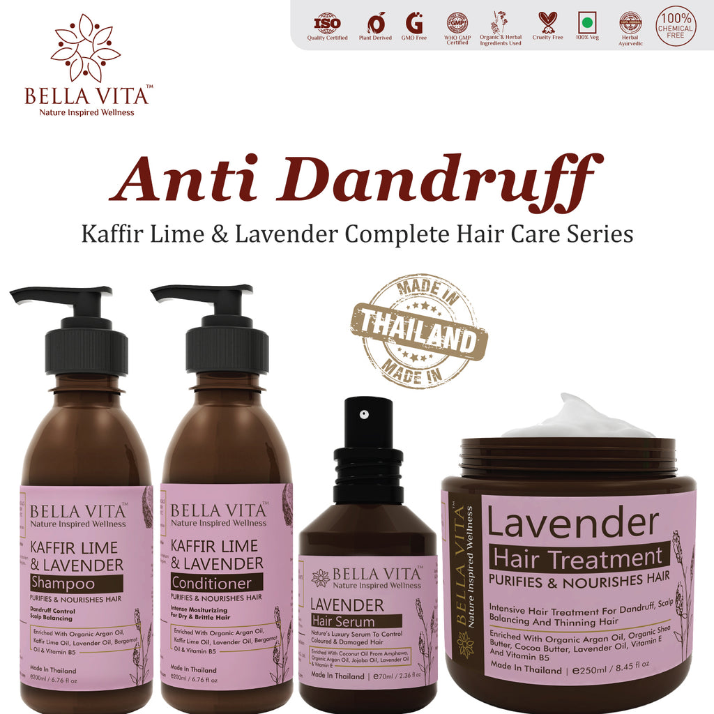 Anti Dandruff & Flake Treatment Keratin Hair Conditioner With Argan, Kaffir Lime & Lavender for Women & Men, 200ml - Skin Organ