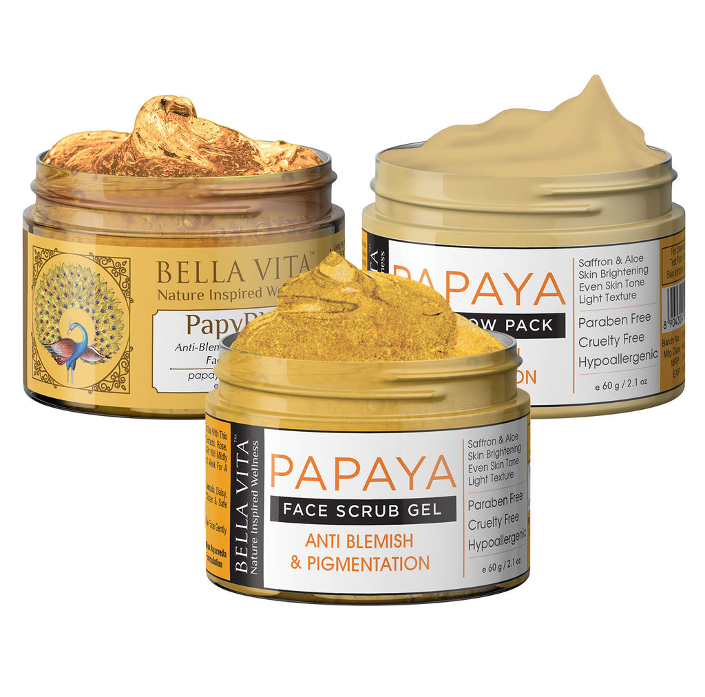 Papaya Face Scrub & Papaya Glow Pack & Papaya Face Cream Trio