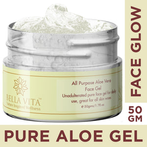 Pure Aloe Vera Face Gel Moisturizer for Women & Men, 50g - Skin Organ