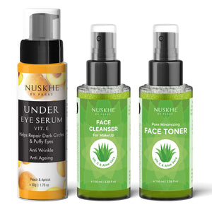 Under Eye Serum, Vitamin C Face Toner & Vitamin C Face Cleanser Combo For Women & Men - Skin Organ