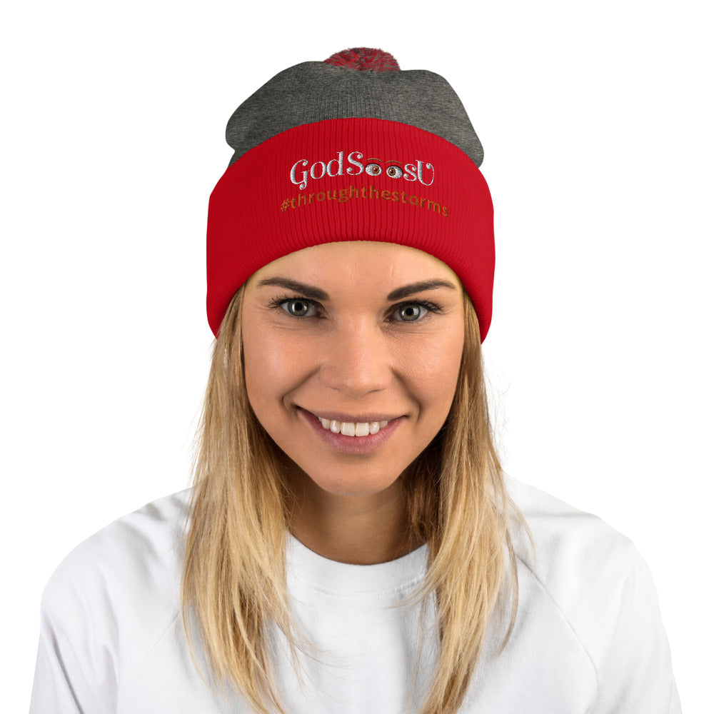 GodSeesU - #throughthestorms- Pom-Pom Beanie