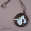ameba cloisonné enamel copper pendant with sterling chain by holly j carter