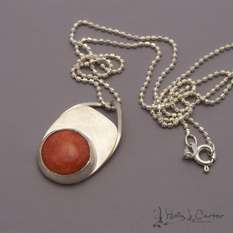 Apple Coral Sterling Silver Pendant/Necklace