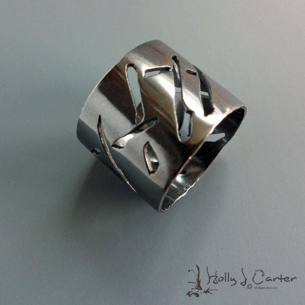 calligraphy sterling silver ring by metals artist holly j carter, holly carter