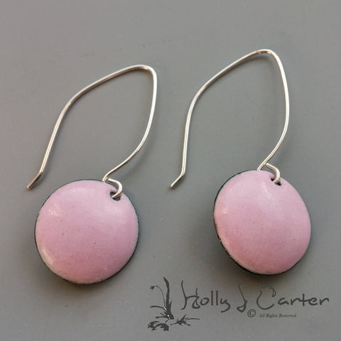 Enameled Dot Earrings Pink