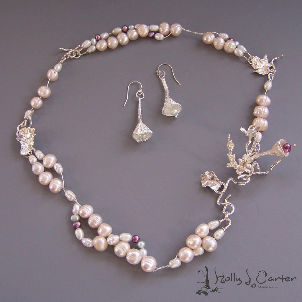 ethereal bouquet pearl & sterling silver necklace/earrings set by holly j carter
