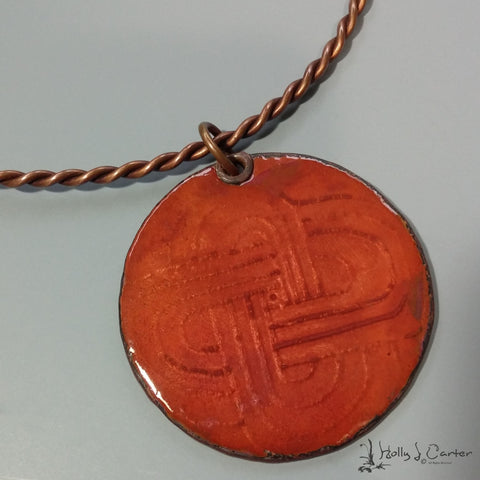 Maize Enameled Copper Pendant/Necklace