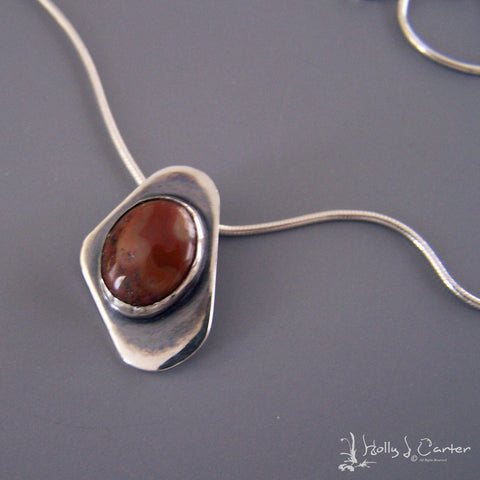 Ovoid Agate/Sterling Pendant/Necklace