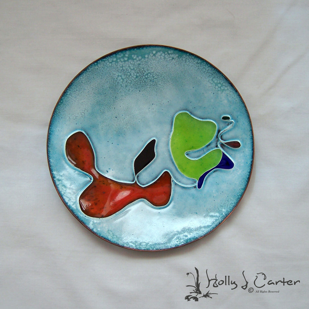 SALE Pools of Color Cloisonné Enameled Copper Art Plate