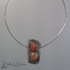 rocky paths reticulated sterling silver pendant & chain, carnelian, green jasper by holly j Carter