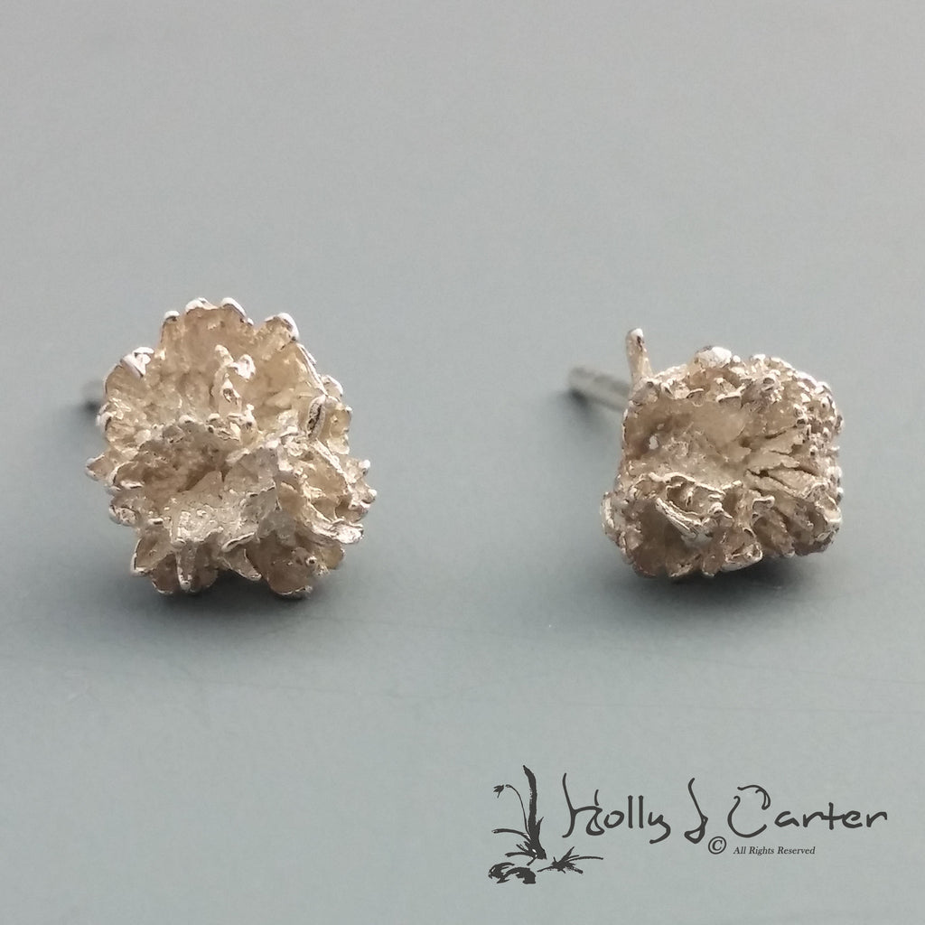 Thistle Bud Sterling Silver Earrings handcrafted by metals artist Holly J Carter