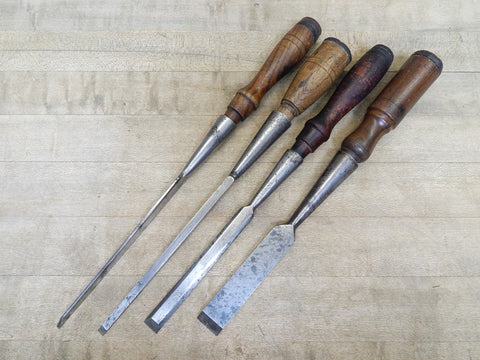 Lot of Four Vintage Socket Chisels -- Various Makers (KM)