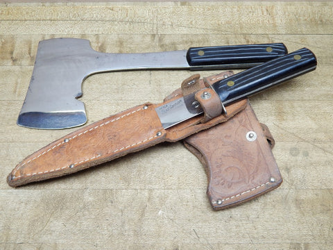 Vintage Utica Sportsman Knife and Hatchet Set -- 1950s with Leather Sheath