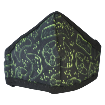 Anti-Microbial Printed Mask Boys Gamer - Black