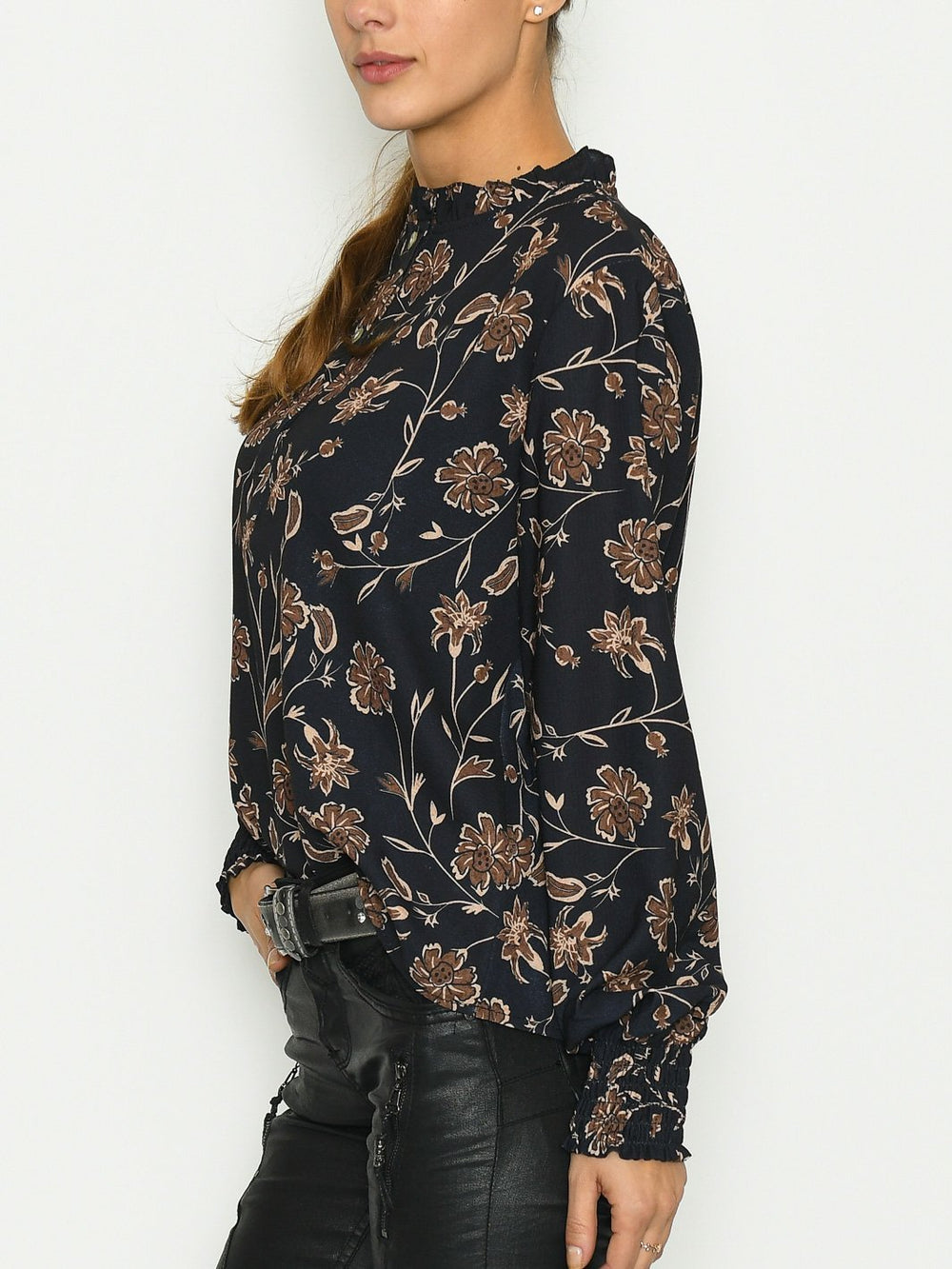 Anita bluse black simple flower - Online-Mode