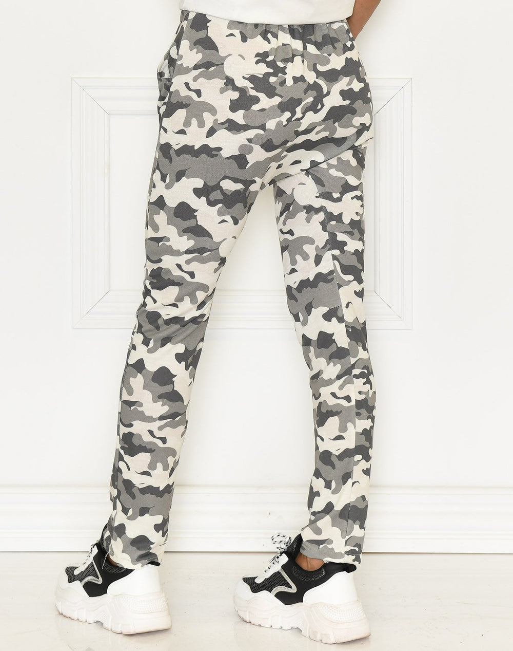 Anna button detail pants green / white - Online-Mode