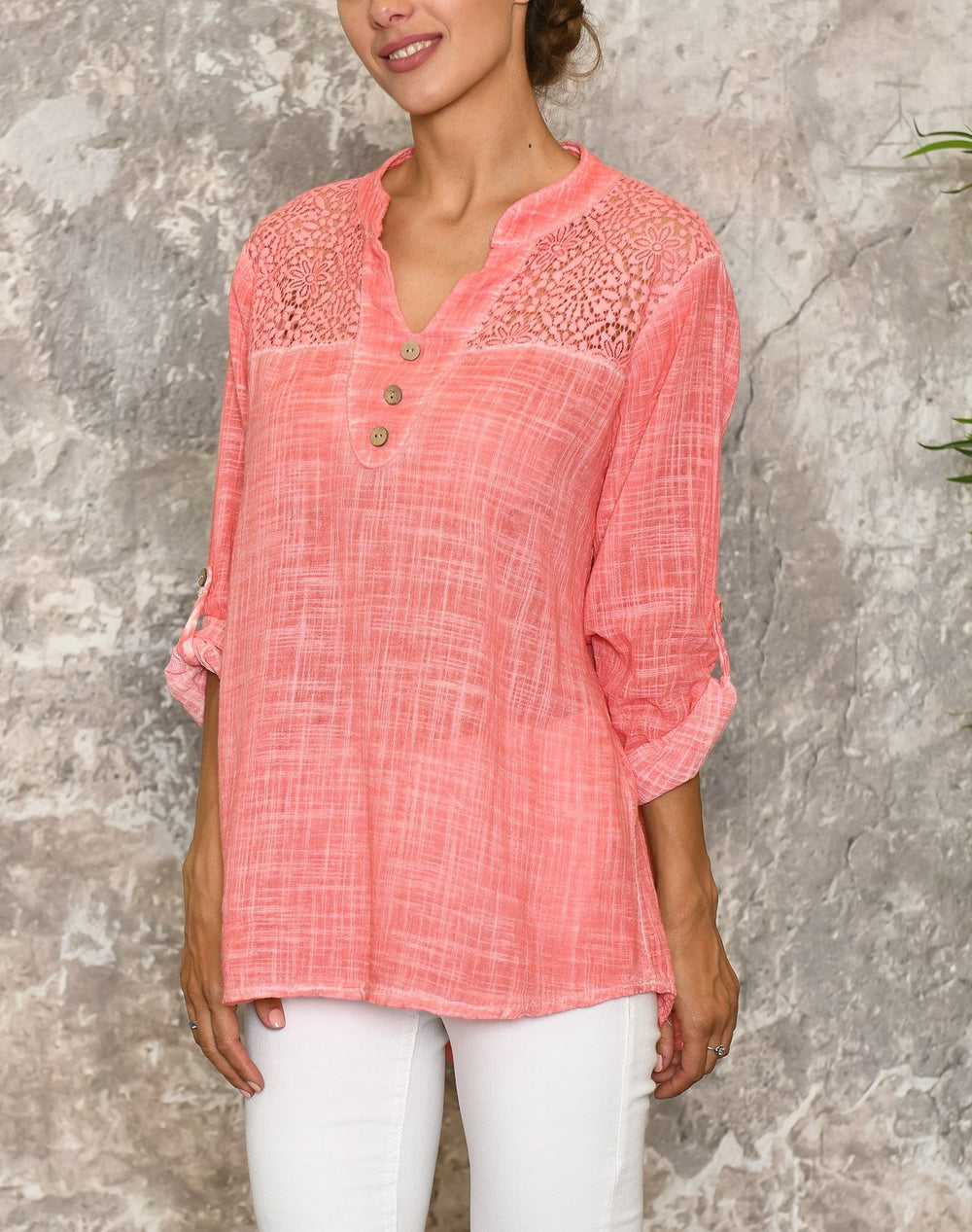 Annika bluse bright coral - Online-Mode