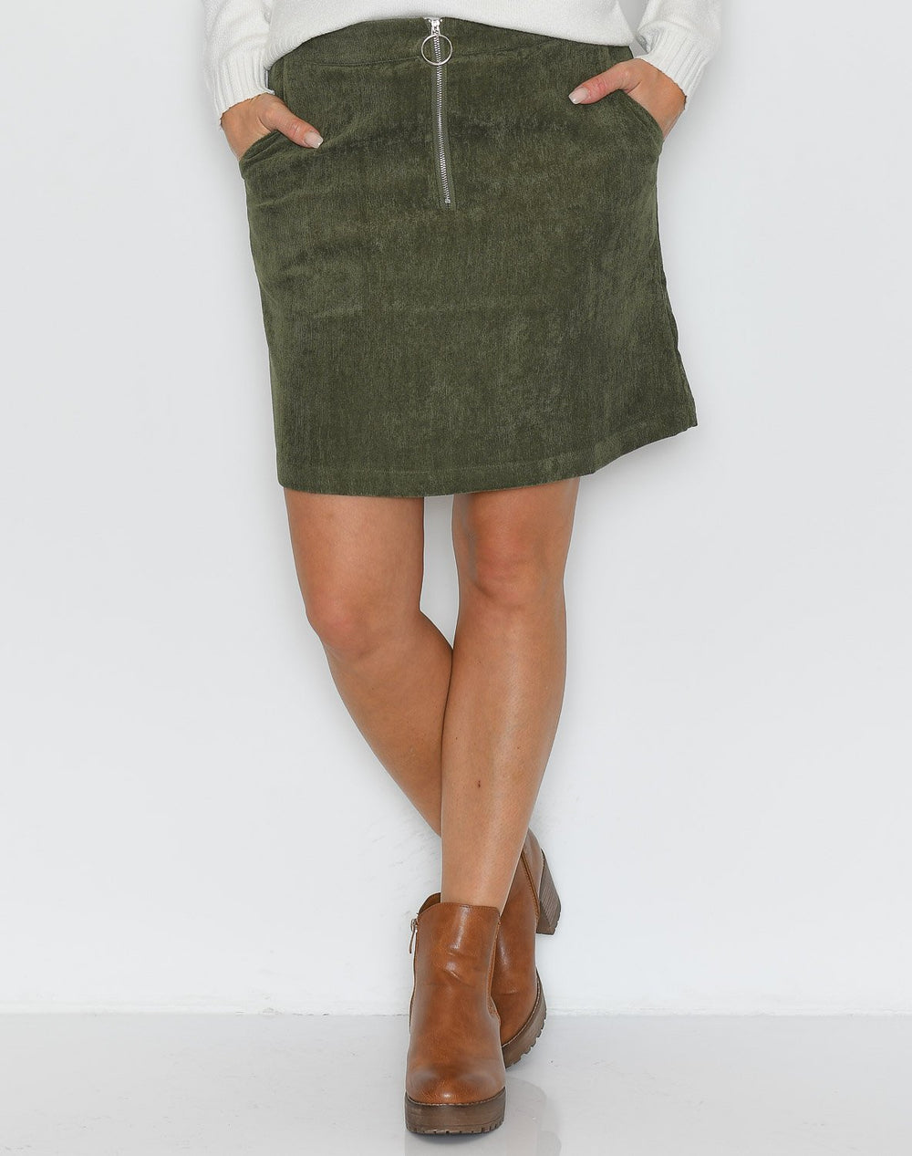 B.young BXElexia short skirt olive night - Online-Mode