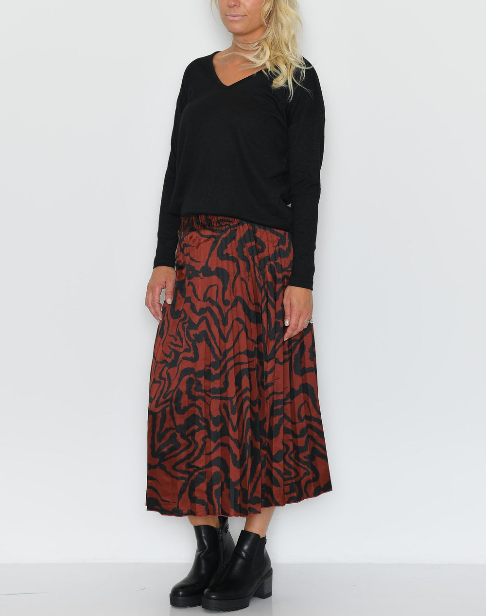 B.young BYgelimo plisse skirt dark copper - Online-Mode
