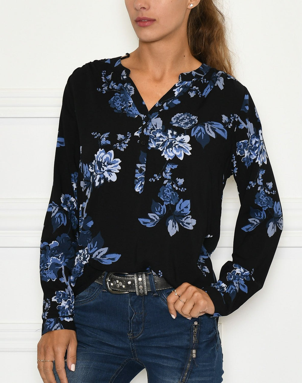 B.Young BYHenna v neck blouse moonlit ocean mix - Online-Mode