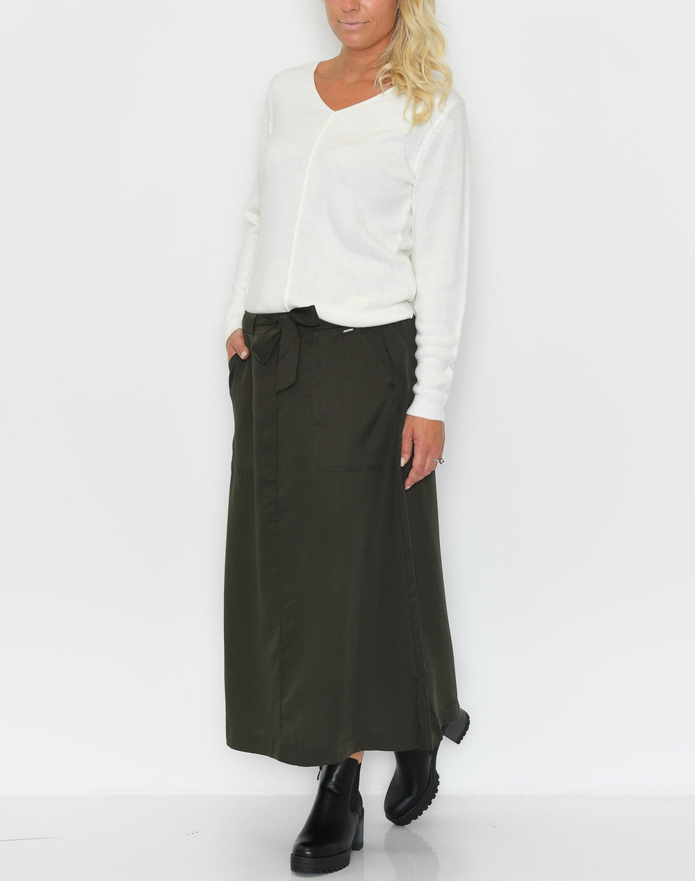 B.young BYInga skirt w. belt peat green - Online-Mode