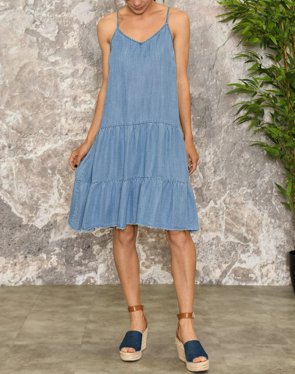 B.young BYlana strap dress med blue denim - Online-Mode