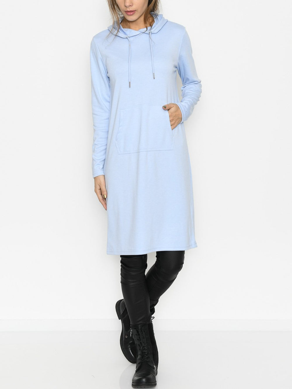 B.Young BYrizi hood dress 2 brunnera blue melange - Online-Mode