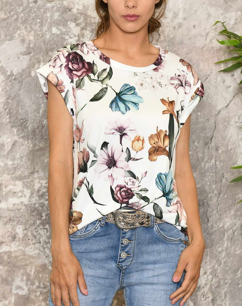 Camille t-shirt 6 white flower mix - Online-Mode