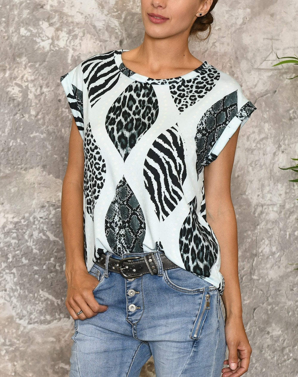 Camille t-shirt 8 blue animal print - Online-Mode