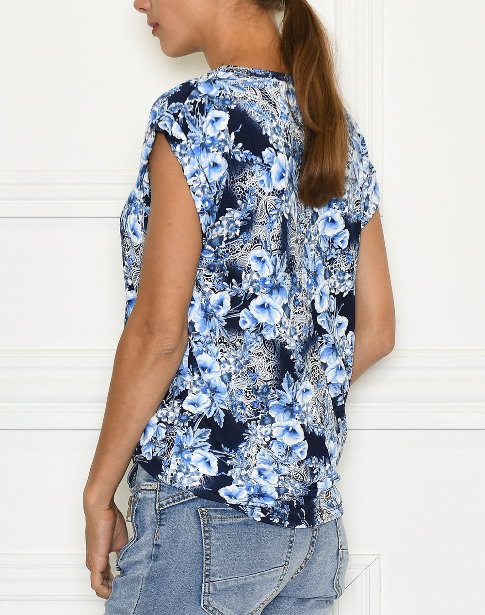 Cille t-shirt 1 flower print blue - Online-Mode