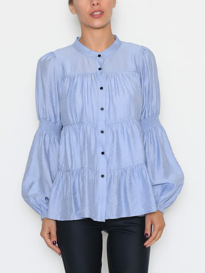 Continue Sanna solid blouse light blue - Online-Mode