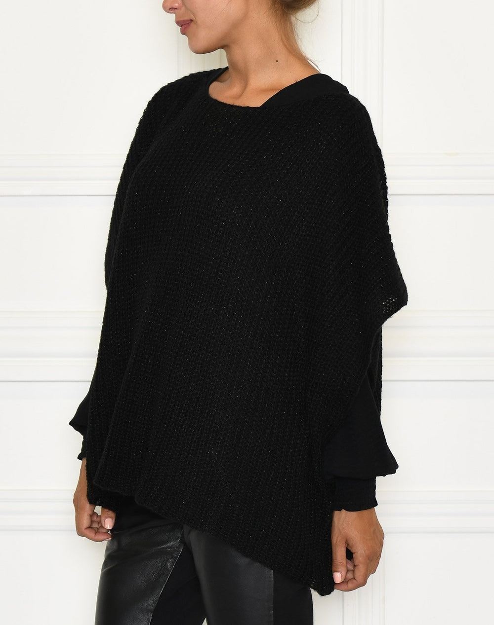 Cream Sally Poncho pitch black - Online-Mode