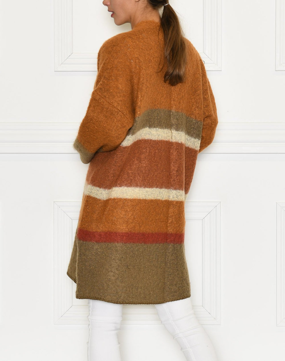 Cream SinaCR cardigan burned stripes - Online-Mode
