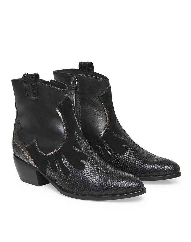 Cream Tahani western boot pitch black - Online-Mode