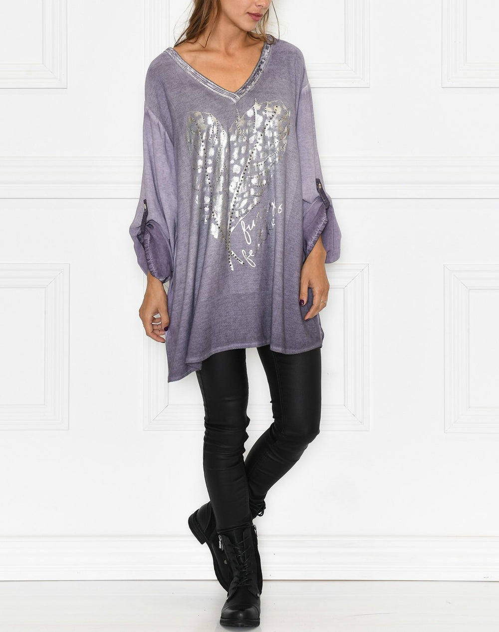 Esther blouse purple feathers - Online-Mode