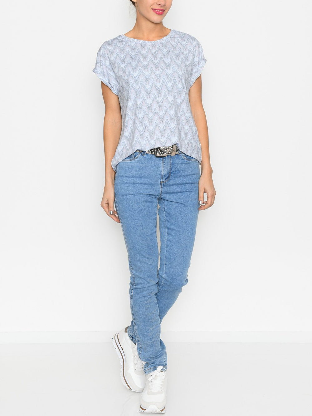 Fransa FRpeseen 1 t-shirt brunnera blue mix - Online-Mode