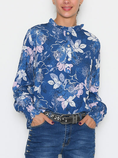 Gracie bluse flower print 5 blue mix - Online-Mode