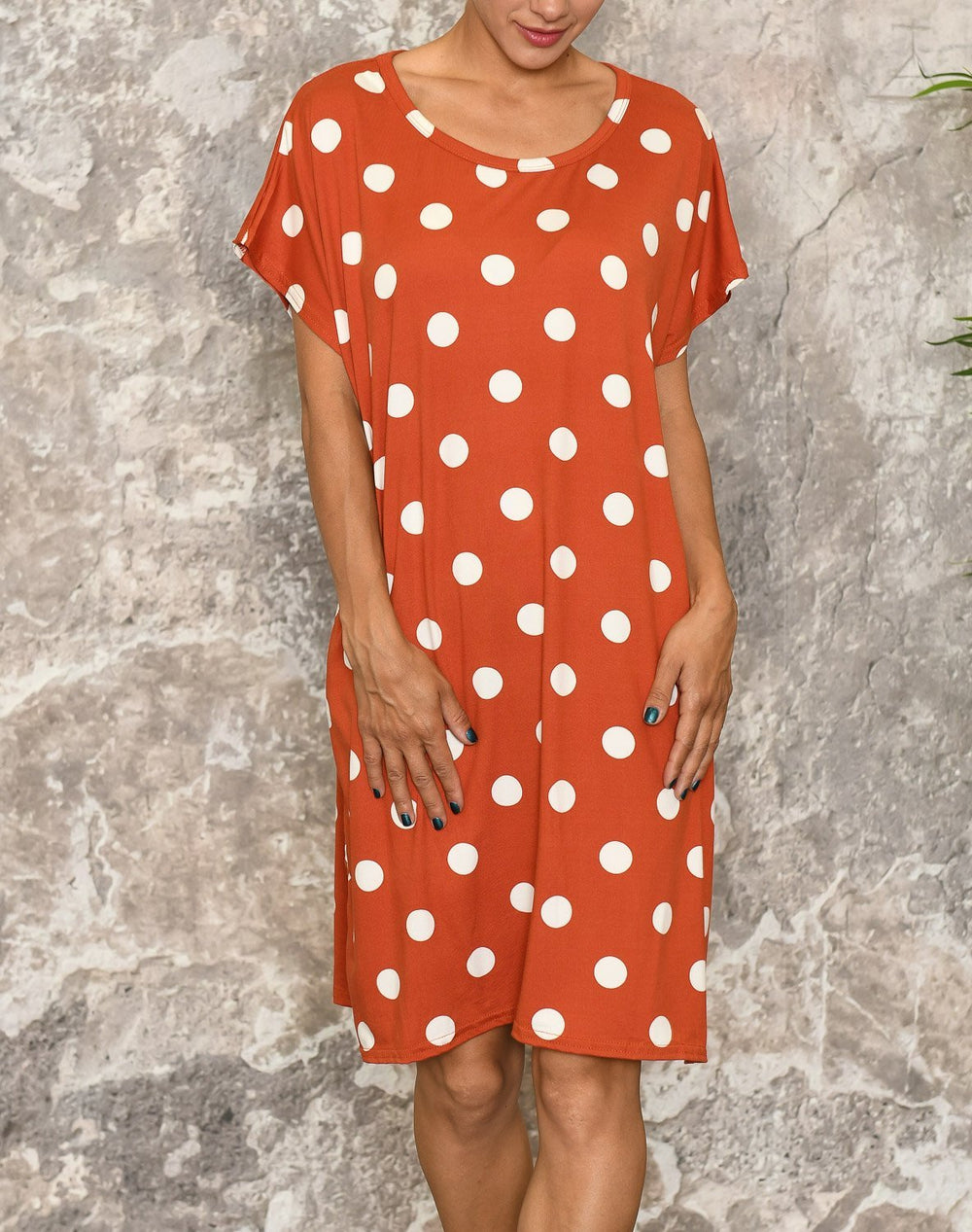Jeanett dress dots orange - Online-Mode