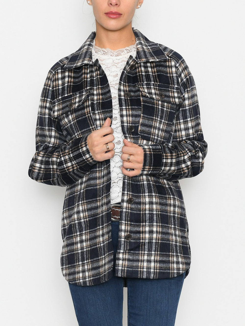 Kaffe KAella shirt jacket midnight / sand combi - Online-Mode