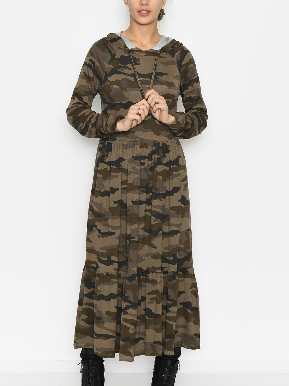 Kaffe KAhemmi dress green/brown army print - Online-Mode