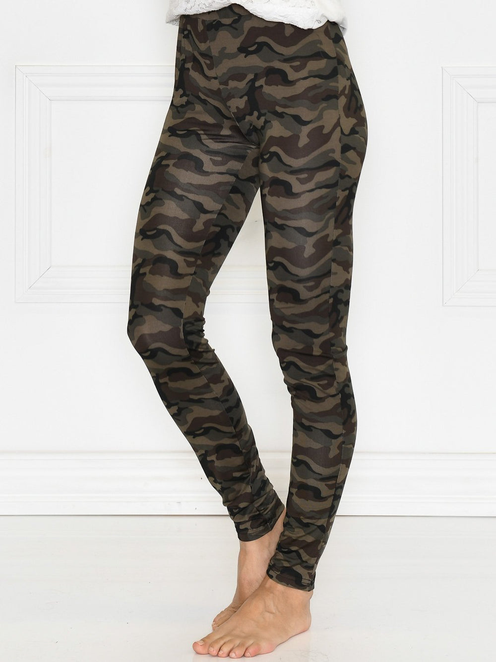 Kaffe KApappi printed leggings green/brown army print - Online-Mode