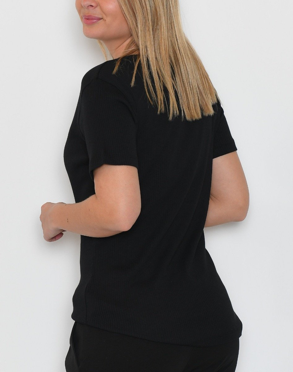 Kaffe KArita u-neck t-shirt black deep - Online-Mode