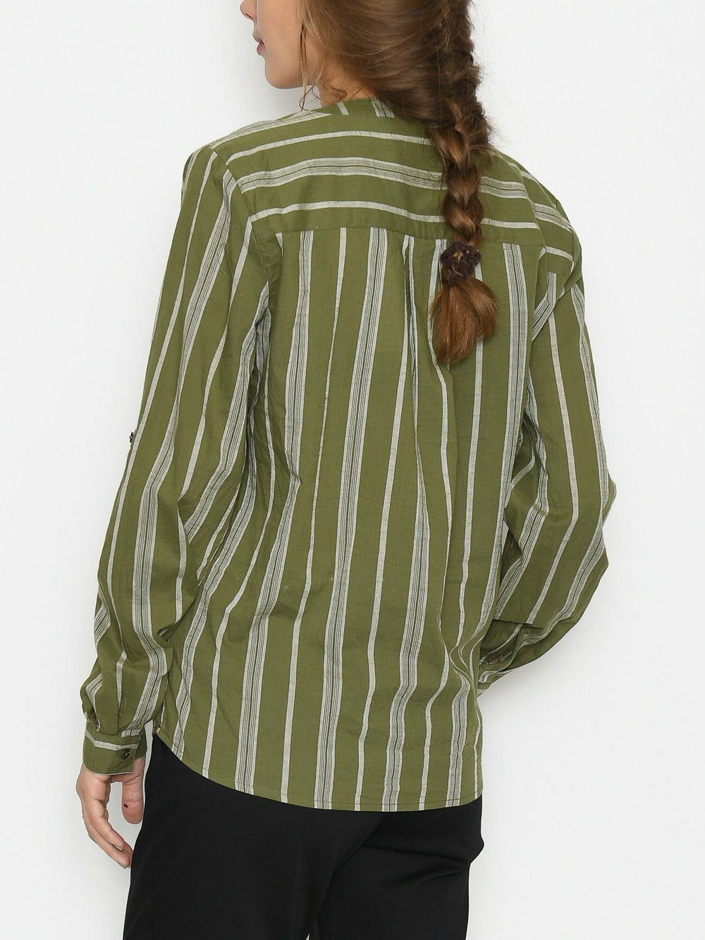 Kaffe KAsandy blouse green/grey yarn dyed stripe - Online-Mode