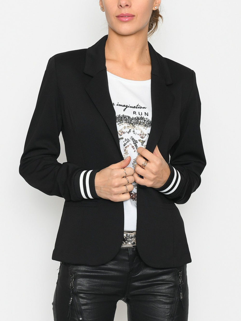 Kaffe Kinnie blazer black - chalk stripe - Online-Mode