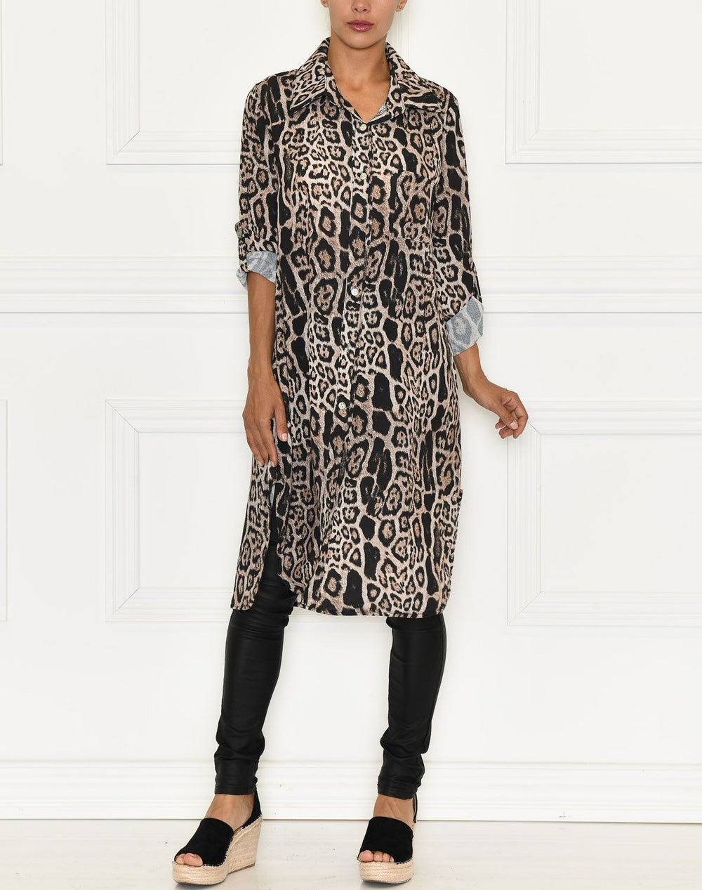 Kaiya shirt dress brown leo - Online-Mode
