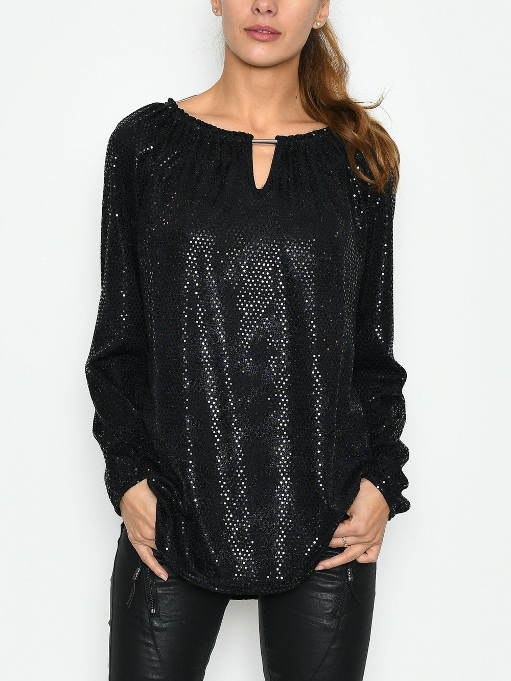 Kalina blouse paillet black - Online-Mode