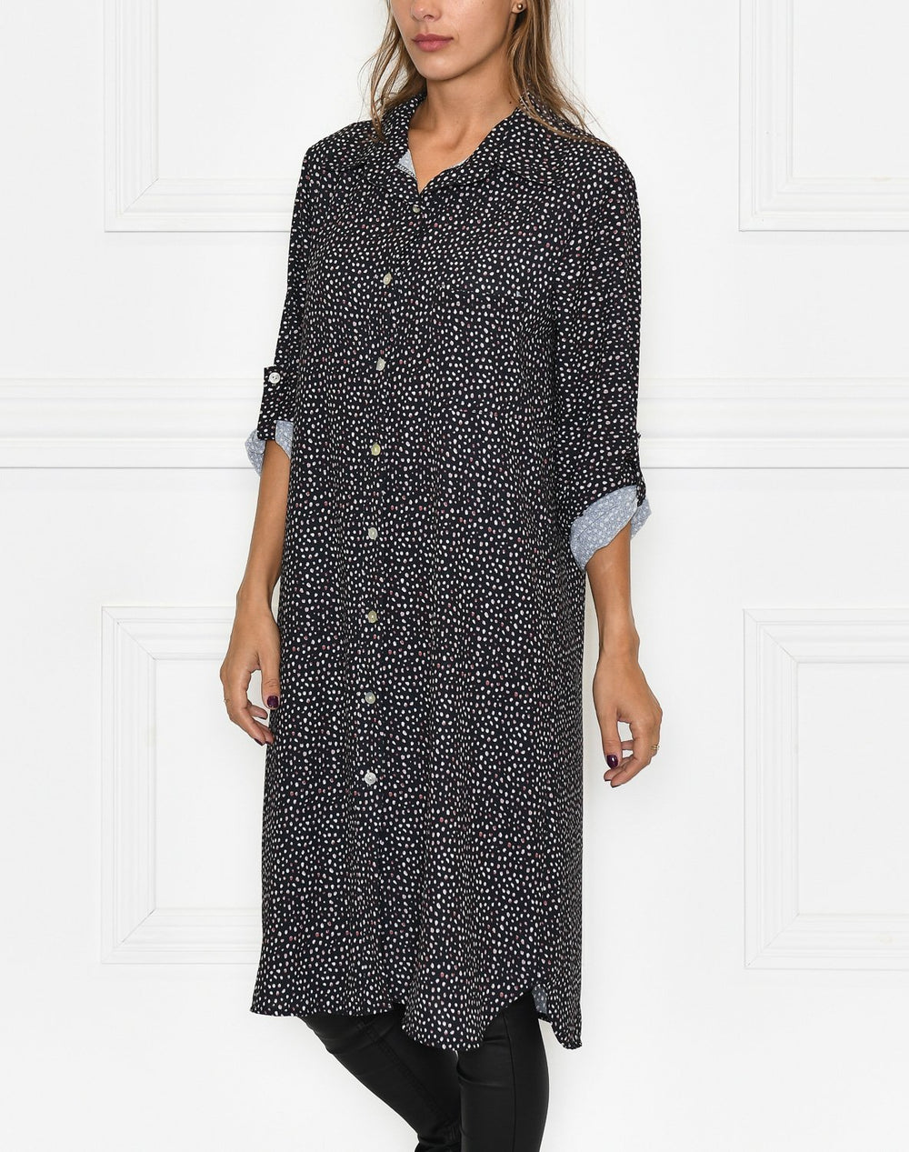 Karoline shirt dress black with dots - Online-Mode